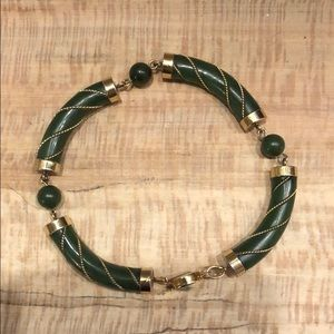 Vintage gold plated jade lucky bracelet
